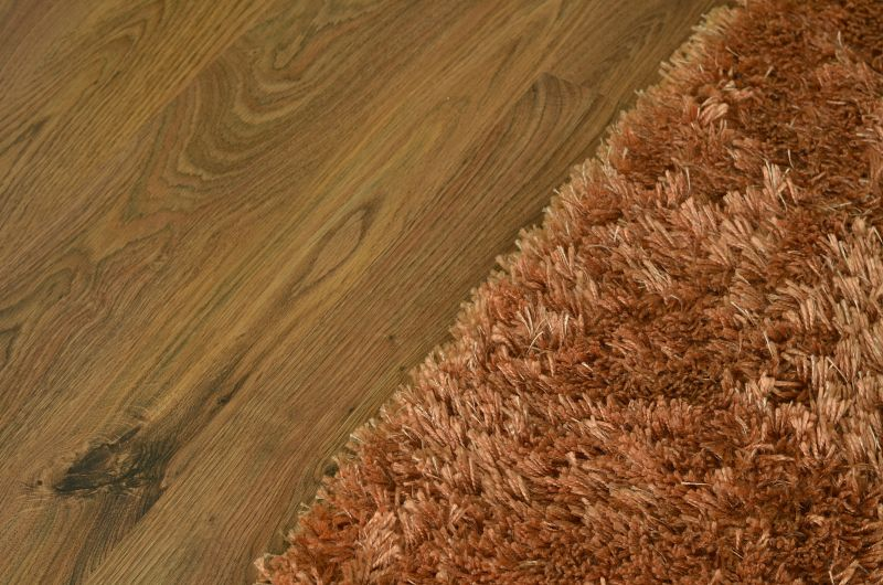 Brown shaggy carpet on wooden floating floor