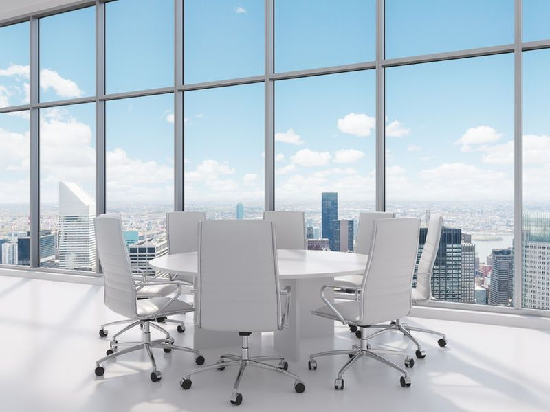 35376958 - chairs and table in big office, 3d render