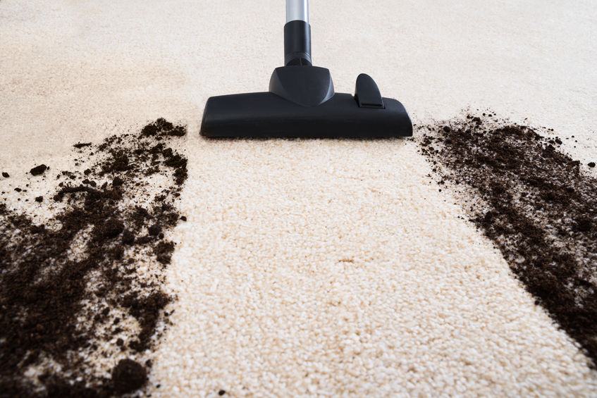 37322060 - photo of vacuum cleaner cleaning dirt on carpet